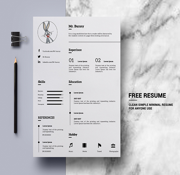 Freebie: Clean Simple Minimal Resume Template