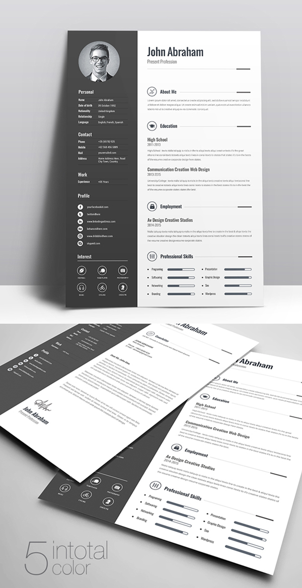 Freebie: Minimal Creative Clean Resume Free Download