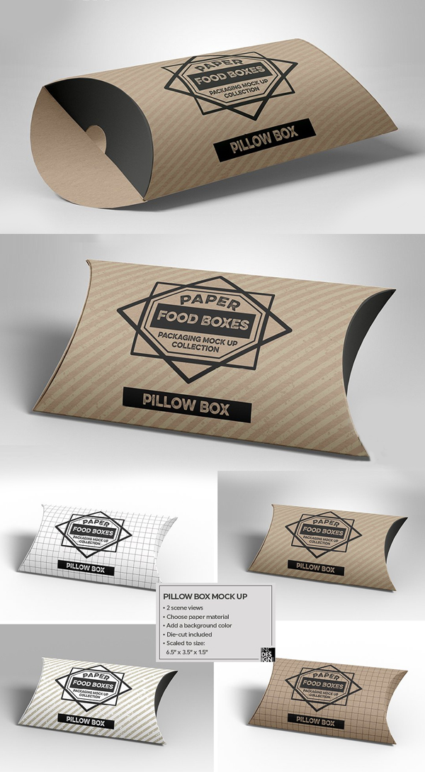 Pillow Box Packaging MockUp