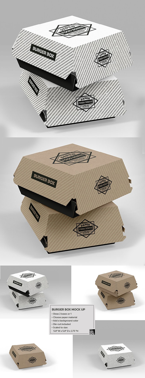 Burger Box Packaging Mock Up
