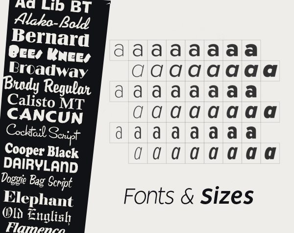 Fonts and Sizes