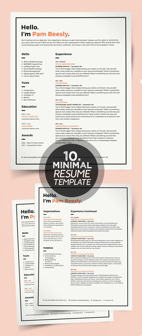 25 Best Minimalism Resume Templates 2018 | Design | Graphic Design