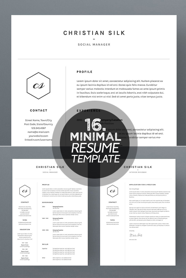25 best minimalism resume templates 2018 design graphic design