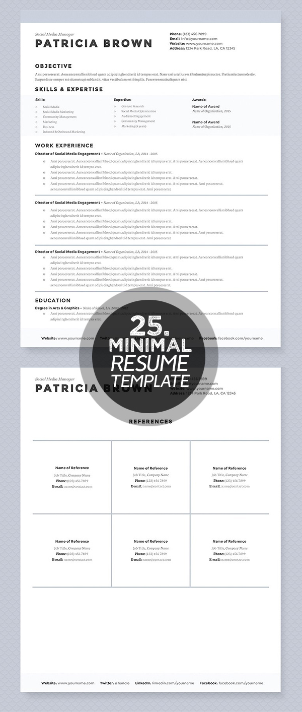 Best Minimalism Resume Templates   Design  Graphic Design