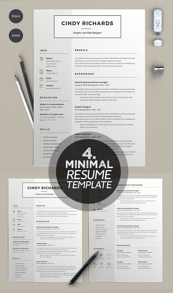 Cindy rechards minimal resume template