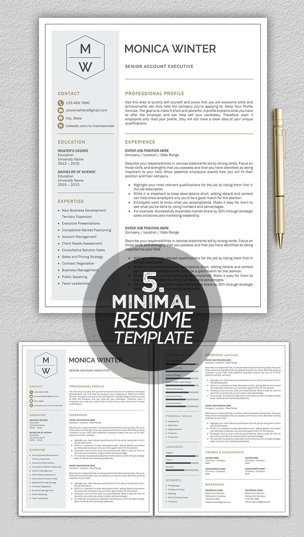 Monica Winter minimal resume template