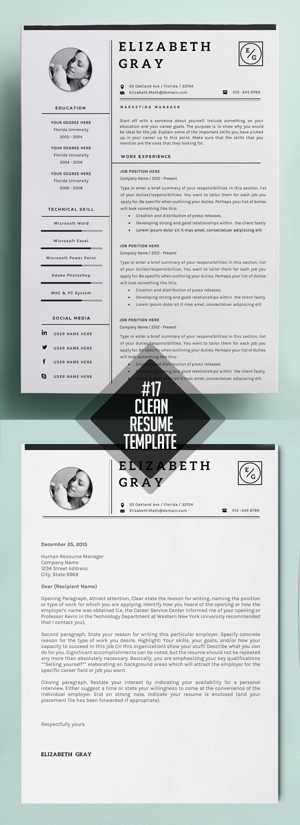 Professional Resume / CV Modern Template