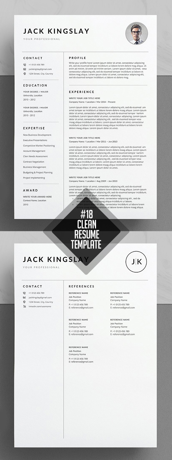 Clean And Minimal Resume Templates  Design  Graphic Design Junction
