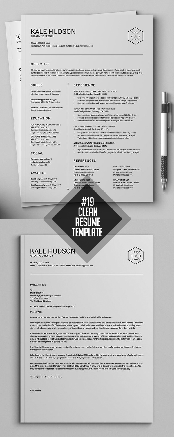 Clean and Minimal Resume Templates | Design | Graphic Design Junction