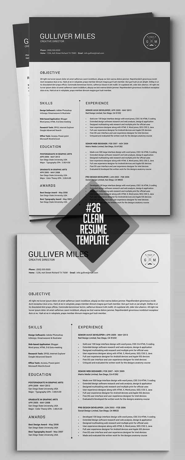 Miniml Resume CV 2 Pages Template