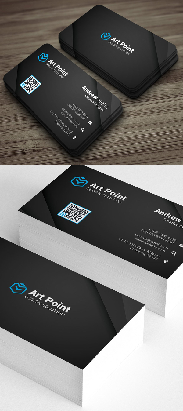 Round Corner Black Business Card