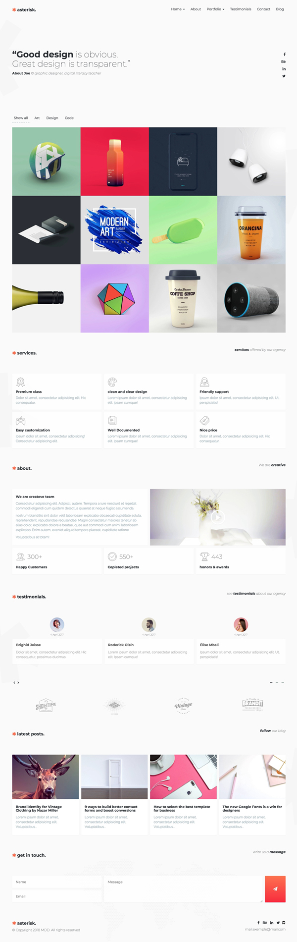 Asterisk – Minimal Multi-Purpose Portfolio Template