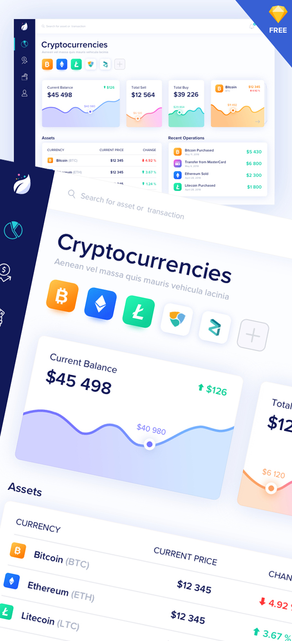Crypto Dashboard - Free Sketch