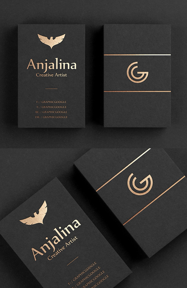Free Creative Gold Foil Business Card Mockup Design