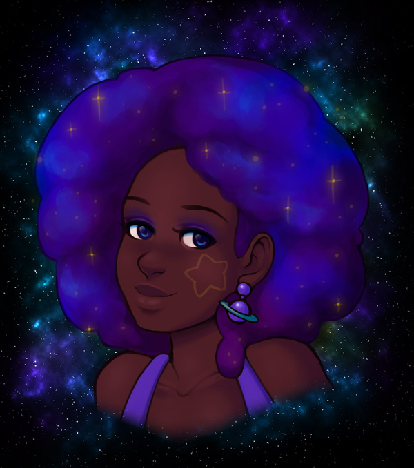 How to Draw & Paint a Galaxy Afro Portrait in Adobe Photoshop