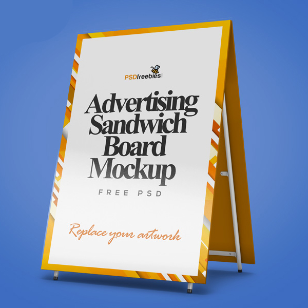 Free Advertising Sandwich Board Mockup PSD