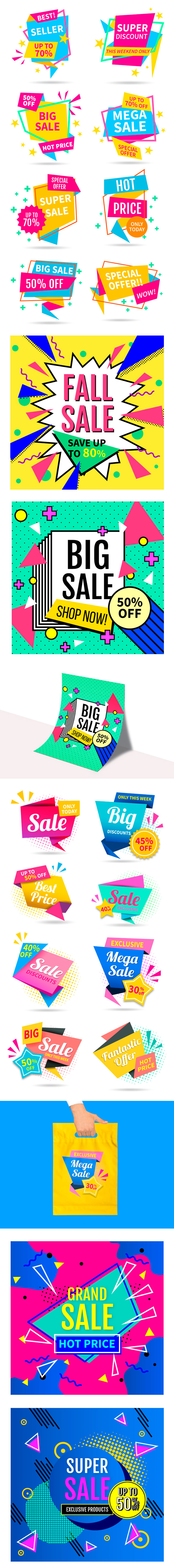 Free Colorful Sales Vector Set