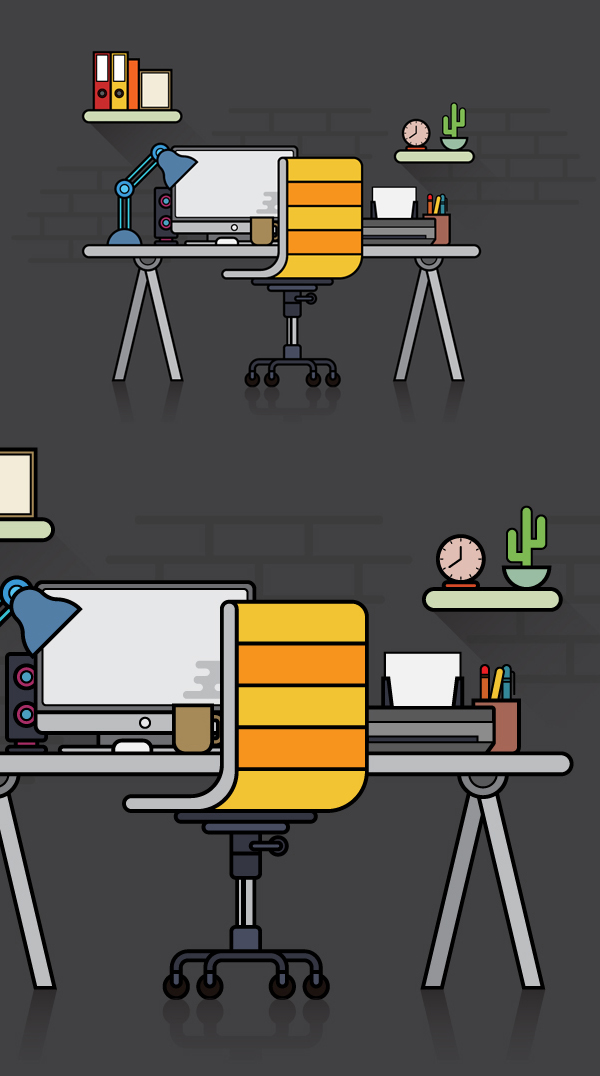Free Flat Design Workspace Vector Illustration