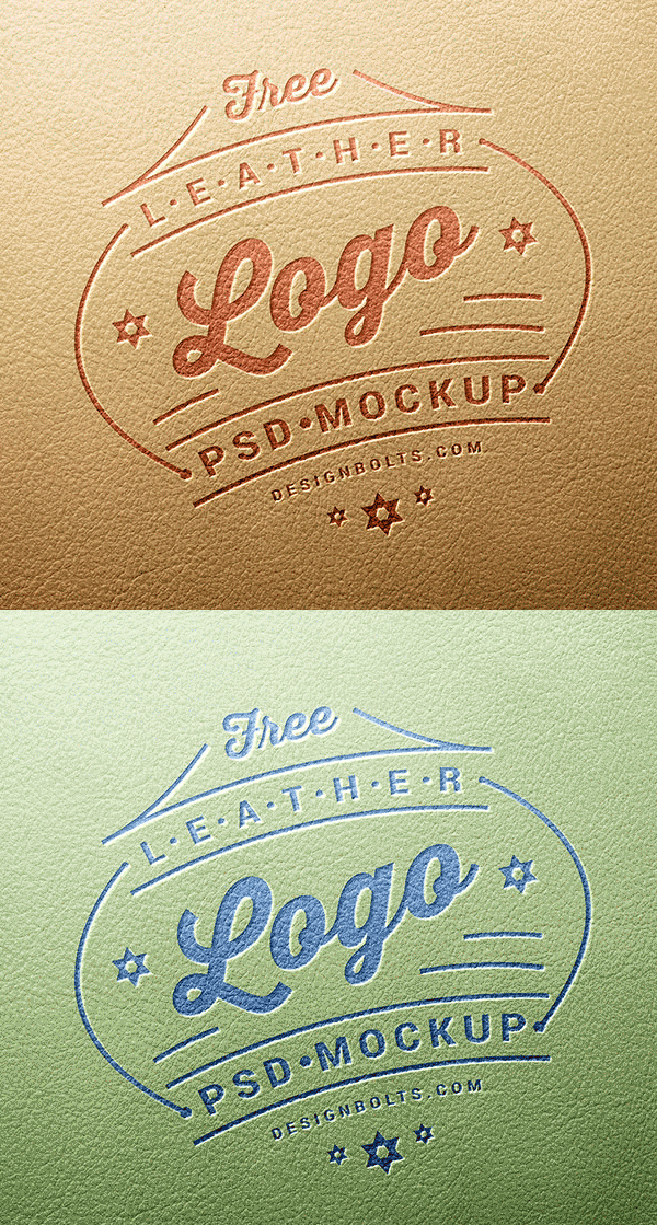 Free Leather Stamping Logo Mockup PSD