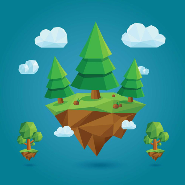 Free Low Poly Trees And Island Vector