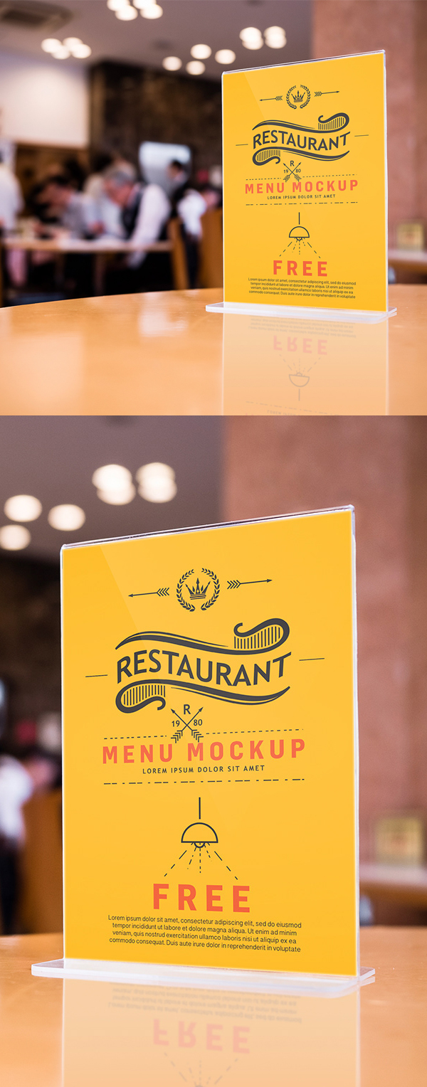 Free Bar/Restaurant Menu Mockup PSD
