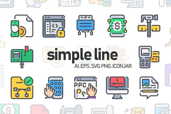 50 Simple Line Icon Vector Set