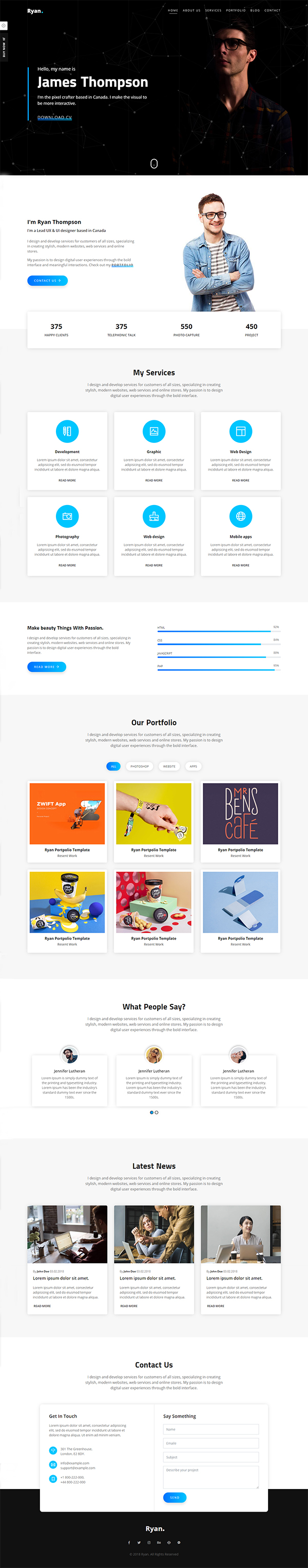 Ryan – Bootstrap 4 One Page Personal Portfolio Template