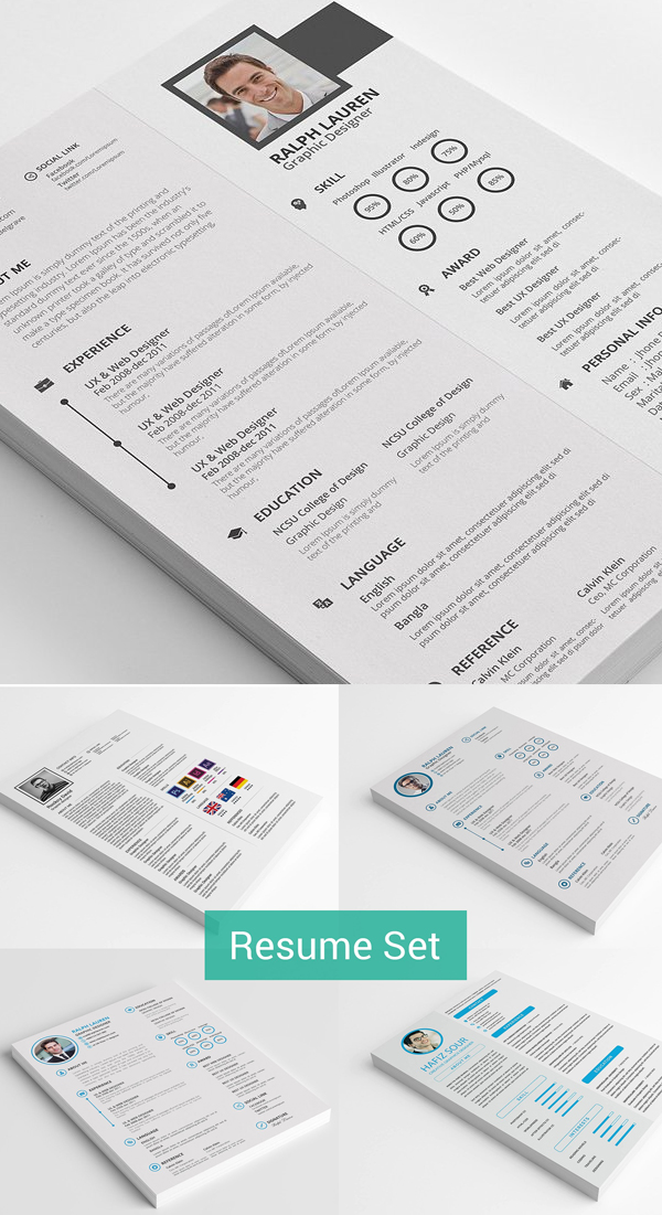 Resume Template, Cover Letter and Portfolio Page