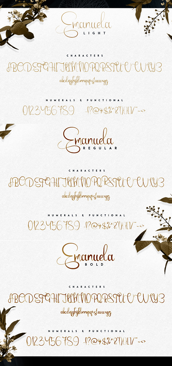Emanuela Script fonts and letters