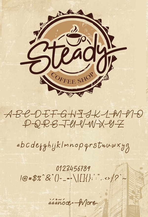 Gabuek Script fonts and letters