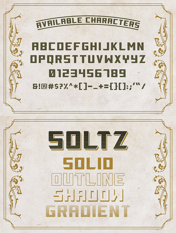 Soltz Vintage fonts and letters