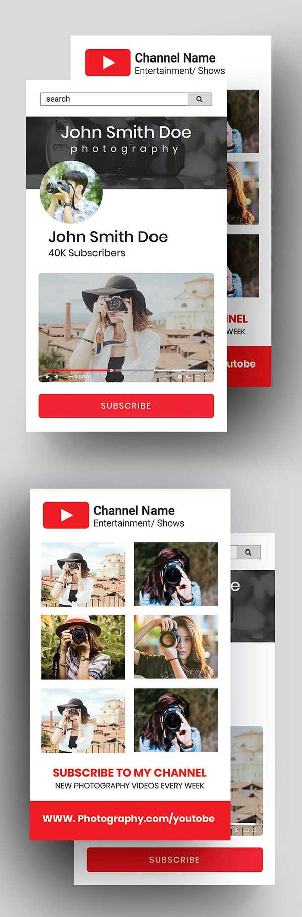 YouTube Business Card Template Design