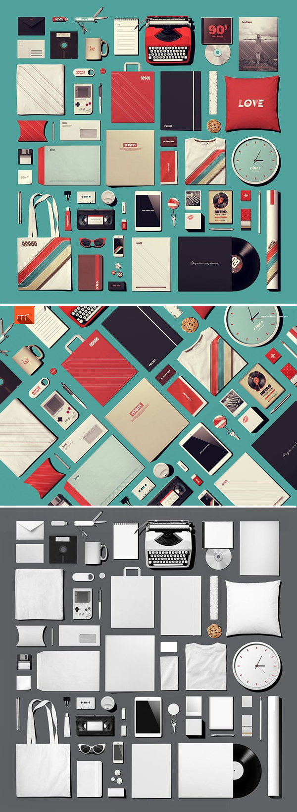 Retro Stationery Identity Mock-Up