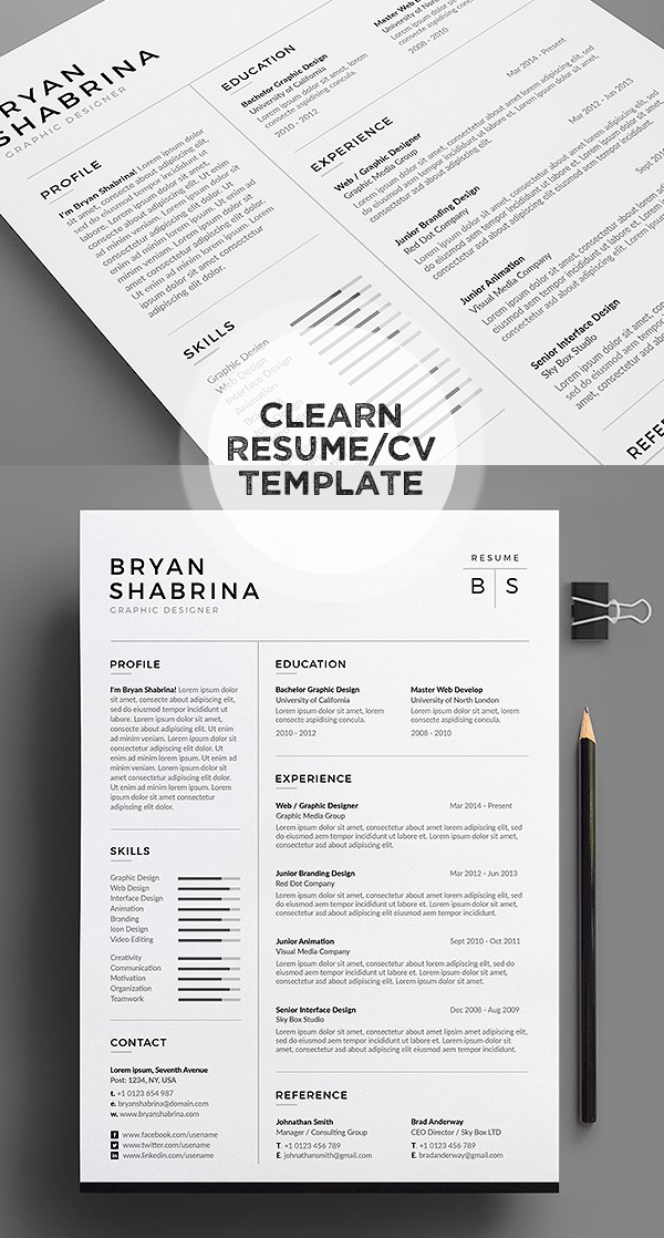 Black/White Resume/CV Template