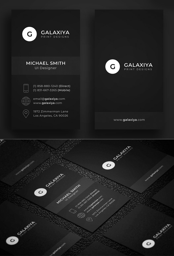Dark Minimal Vertical Business Card