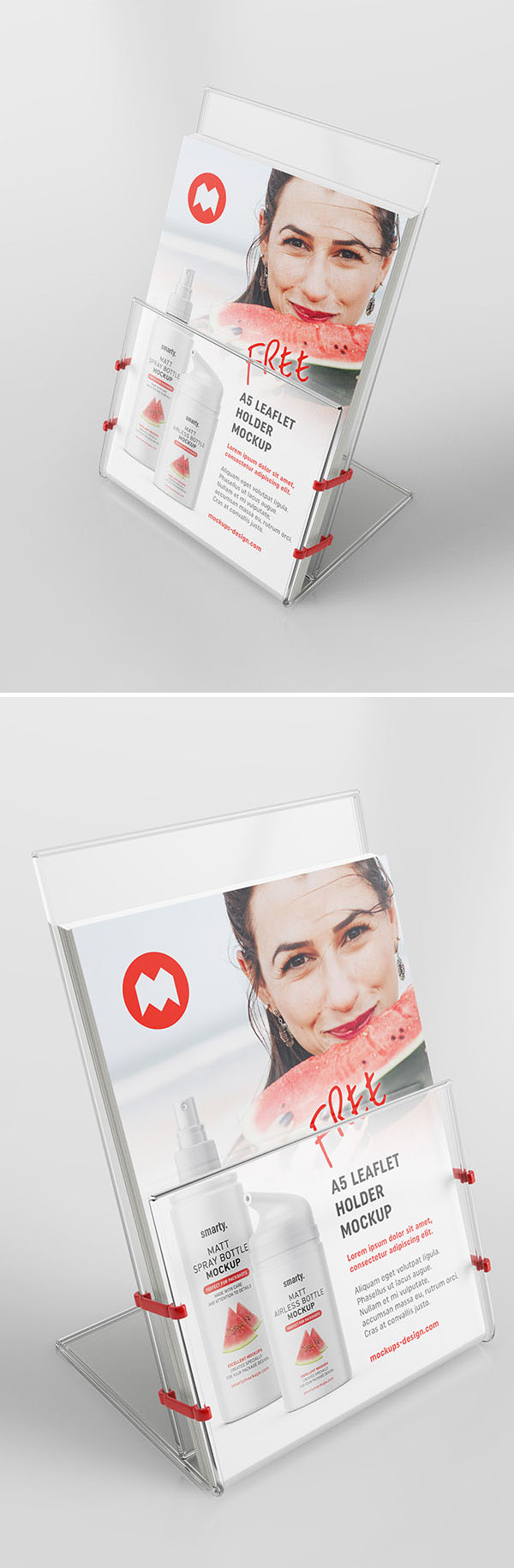 Free Transparent Leaflet Holder PSD Mockup