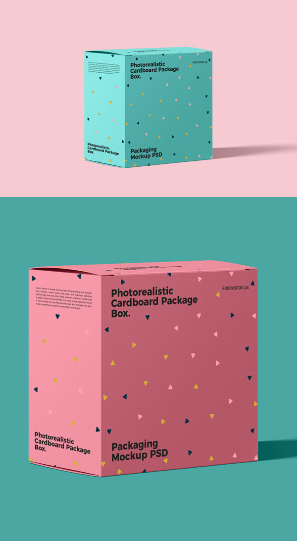 Free Photorealistic Cardboard Package Box Mockup PSD