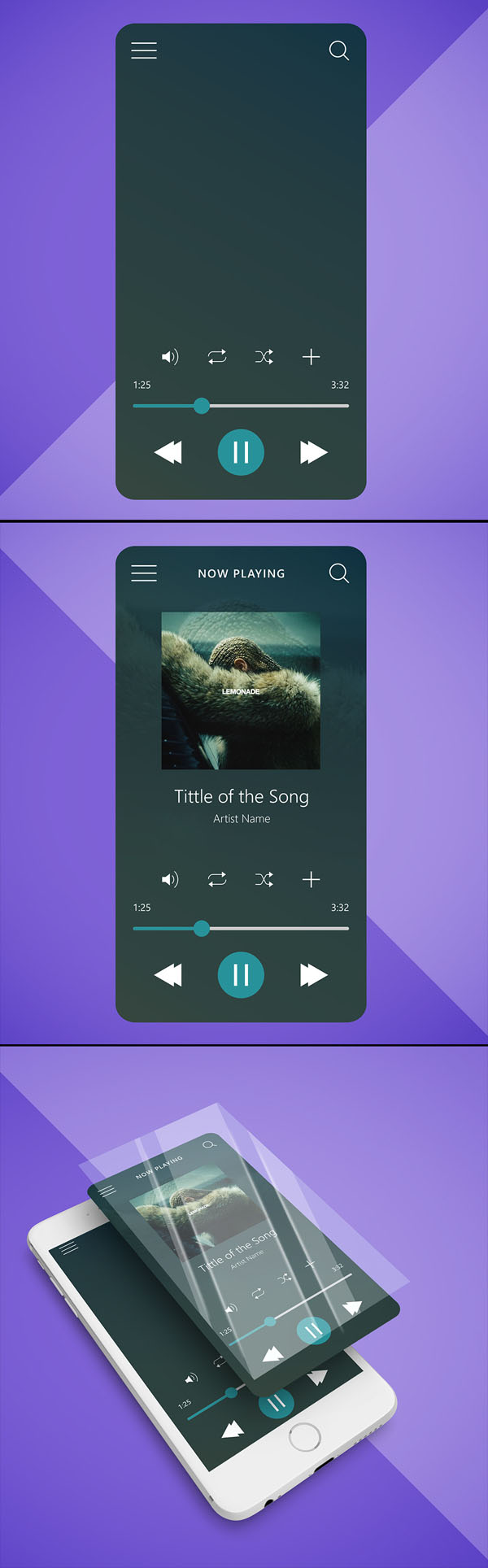 Music Player Interface - Free UI Mockup + Illustration