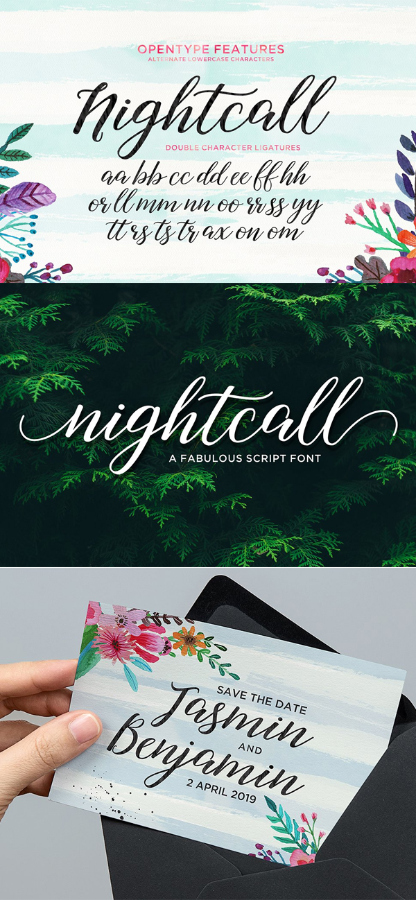 Nightcall Script Font Letters