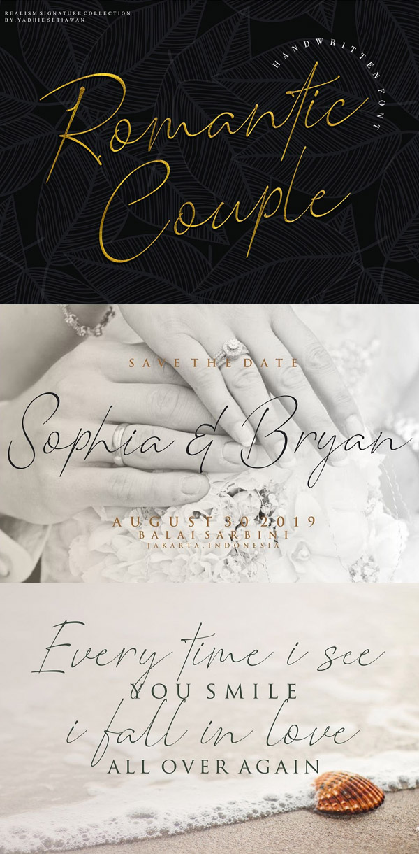 Romantic Couple Signature Free Font Design