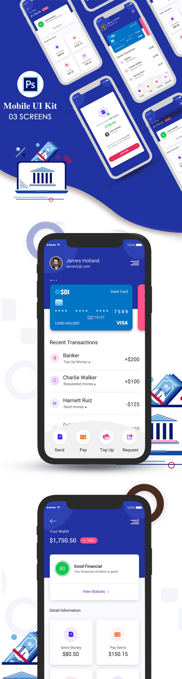 Freebies for 2019: Free New Digital Bank App UI Kit