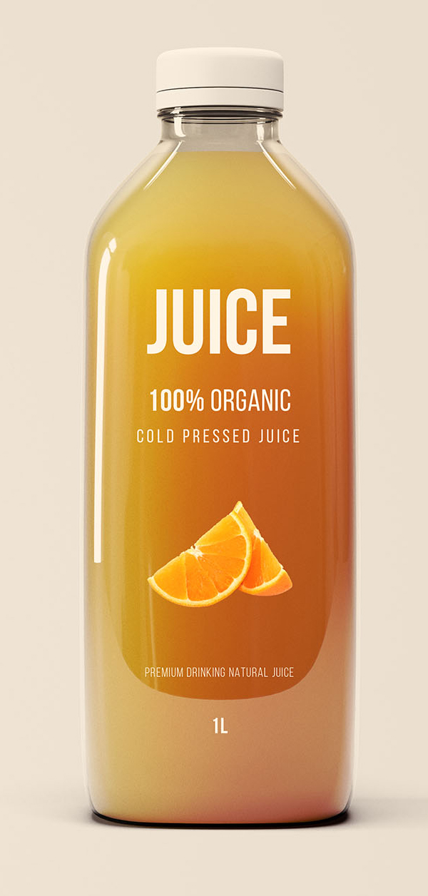 Freebies for 2019: Free Big Glass Juice Bottle Mockup