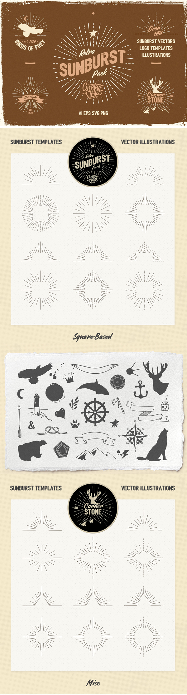 Freebies for 2019: Free Vintage Glory: Sunburst Vector Set