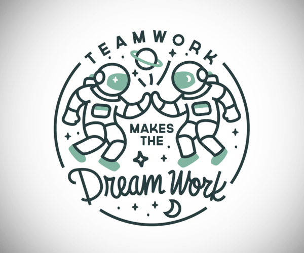 Teamwork Dream Work Badge Logo