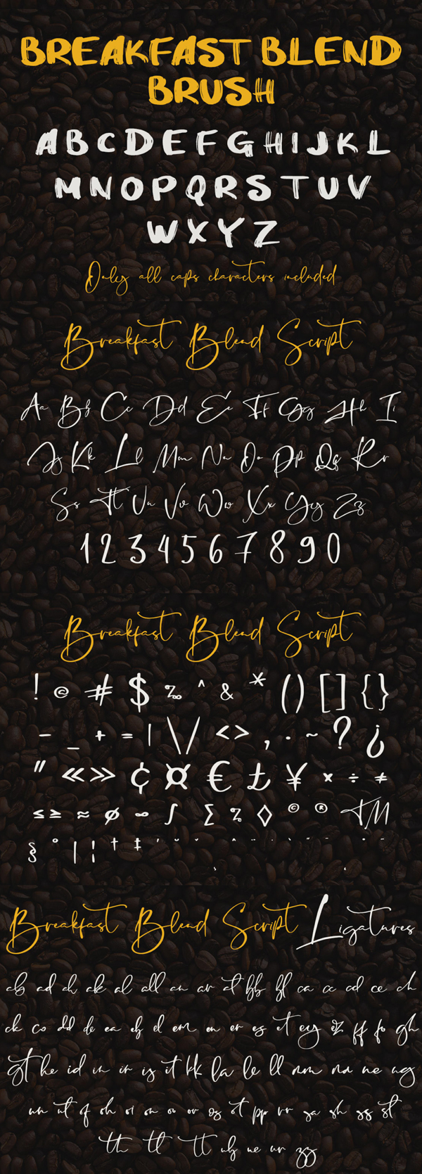 Breakfast Blend Brush Font Letters