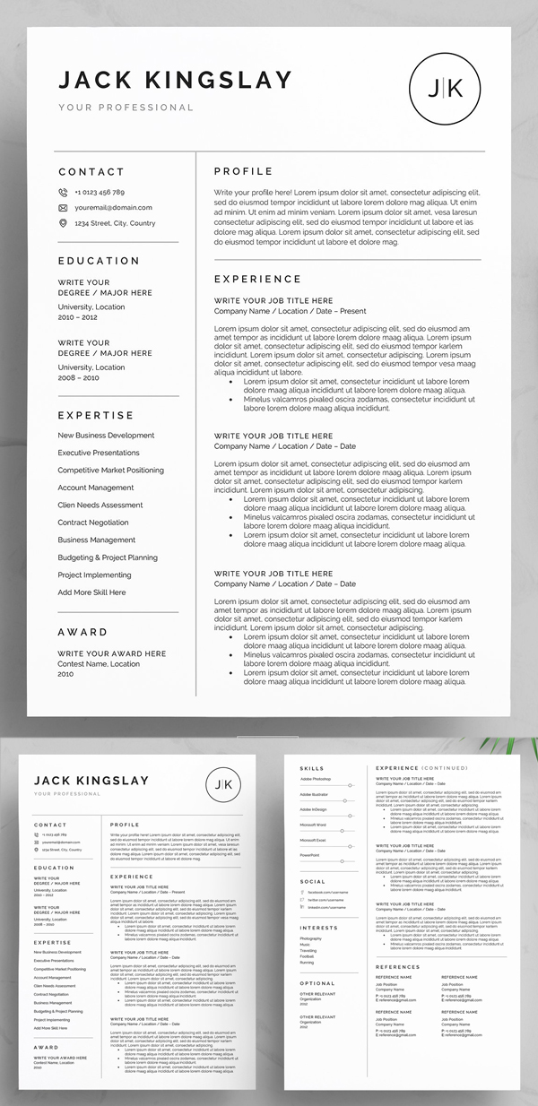 30 Best Word Resume Templates Design Graphic Design Junction