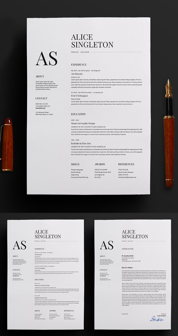Elegant Resume / CV and Cover Letter