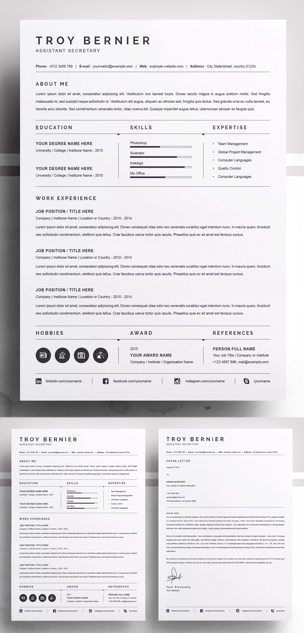 20 Best Simple Clean Resume Templates