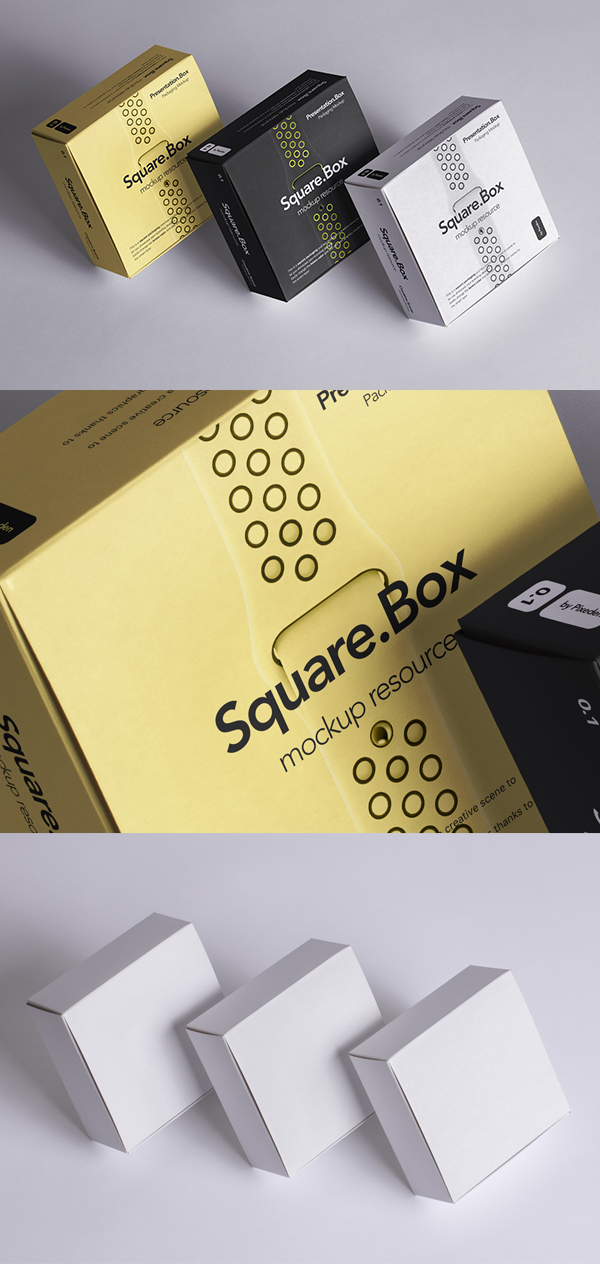 Free Psd Square Boxes Packaging Mockup