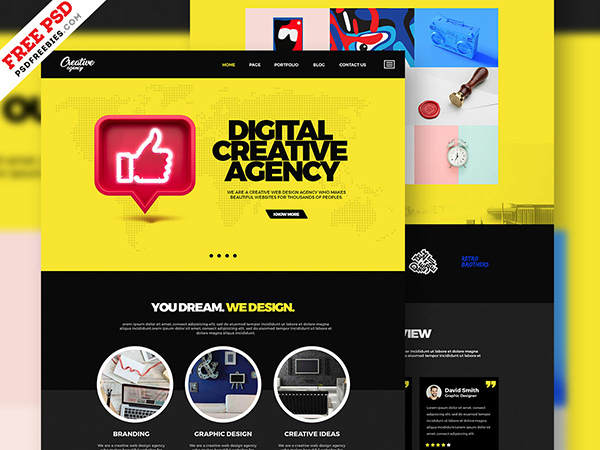 Creative Agency Portfolio Website Template PSD